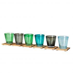 Glasuntersetzer Eichenholz mit bunte Gläser