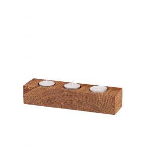 Teelichterhalter 3er Block geölt mit Kerzen