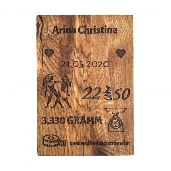 Eichenholz Geburtstafel mit Gravur