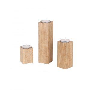 Teelichthalter - Kerzenhalter Säulen aus Eichenholz unbehandelt