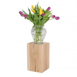 Holzklotz - Holzblock unbehandelt mit Vase