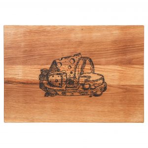 Schneidebrett Eichenholz Holzgravur Käse