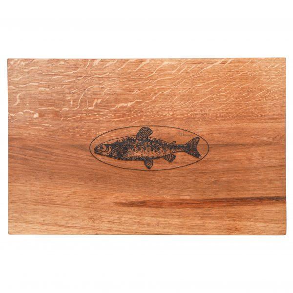 Schneidebrett Eichenholz Holzgravur Fisch