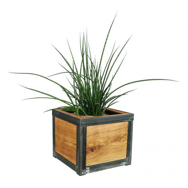 Blumentopf - Pflanzentopf aus Eichenholz und Stahlgestell