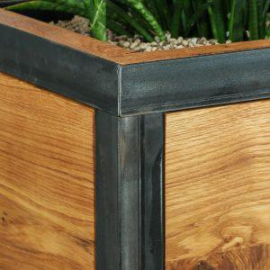 Blumentopf - Pflanzentopf aus Eichenholz und Stahlgestell - Detailbild