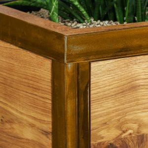 Blumentopf - Pflanzengefäß - Eichenholz und Stahl in Rost