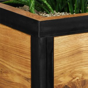 Blumentopf - Pflanzengefäß - Eichenholz und Stahl in schwarz