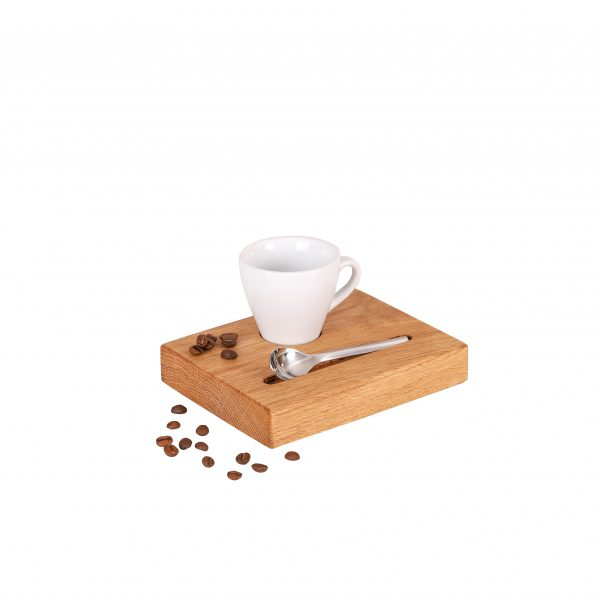 Espresso Serviertablett mit weißer Tasse Espressotablett