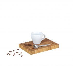 Espressotablett Stirnholz weiße Tasse