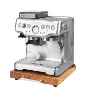 Rollbrett Kaffeemaschine_Eiche_dick_Edelstahl_eckig_mit_Maschine