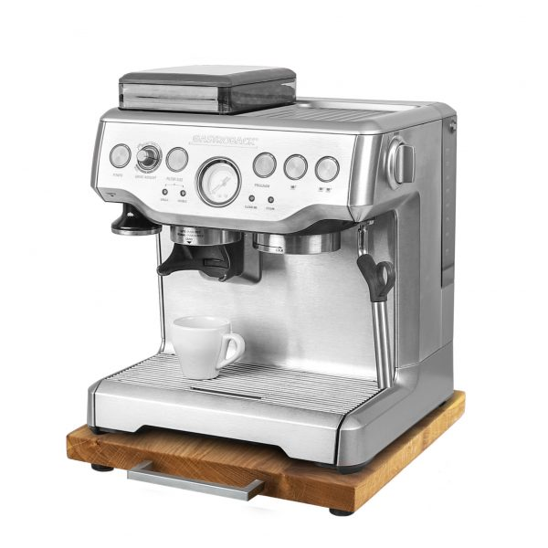 Rollbrett Kaffeemaschine_Eiche_dünn_Edelstahl_eckig_mit_Maschine
