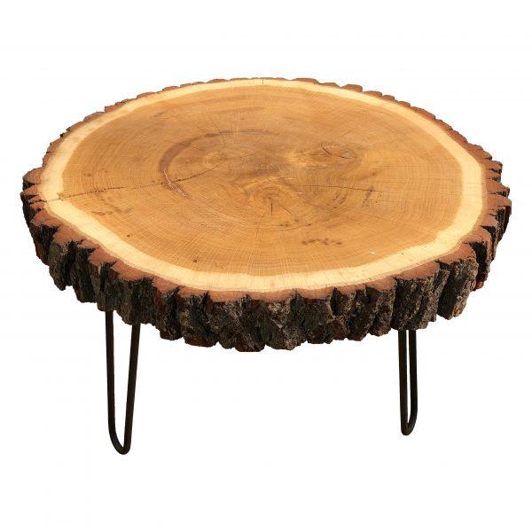 Couchtisch Baumscheibe Eiche mit Hairpin Legs