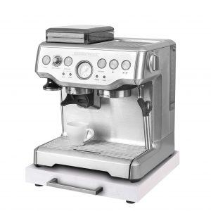 Rollbrett Kaffeemaschine_Weiß_dick_Edelstahl_eckig_mit_Maschine