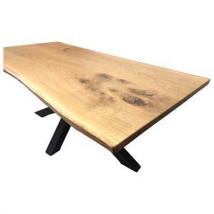 Eichenholz Esstisch mit Stahlgestell