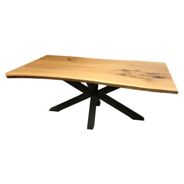 Tisch Spidergestell Baumkante Eiche