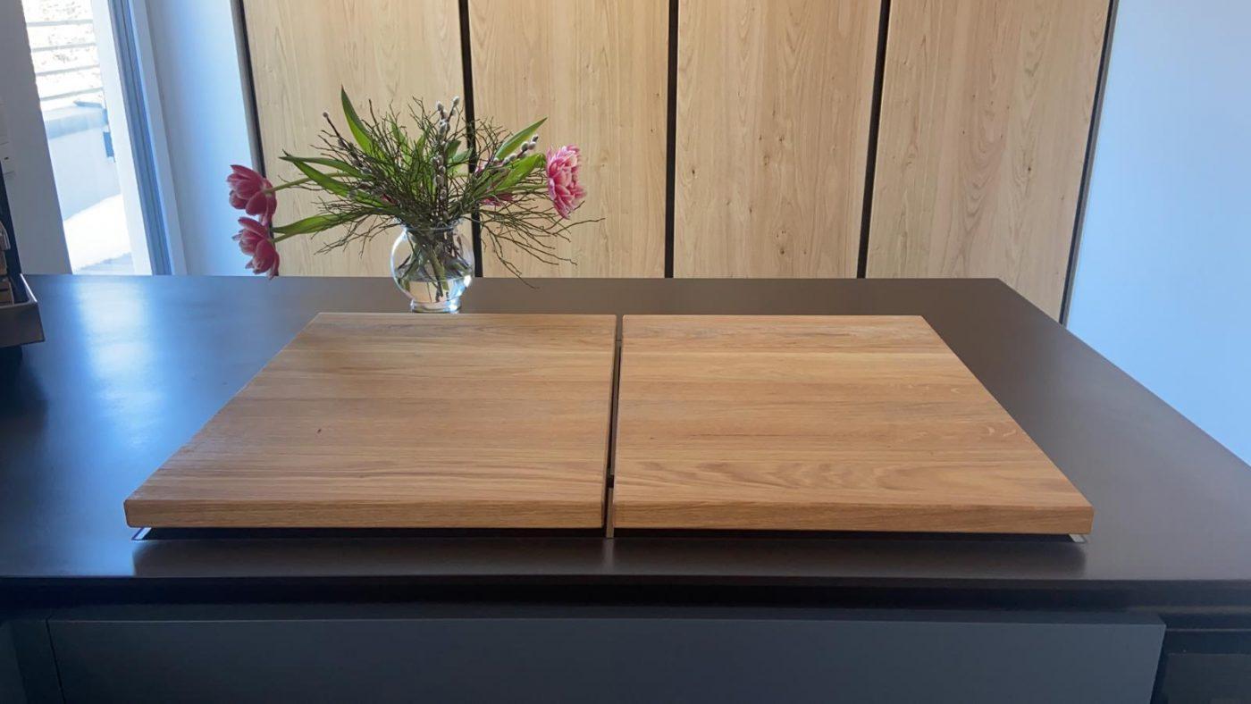 zweiteilige Ceranfeldabdeckung für Induktionsherd aus Holz