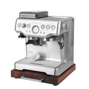 Rollbrett Kaffeemaschine_Walnuss_dick_Edelstahl_eckig_mit_Maschine